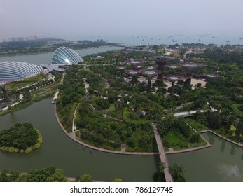 SINGAPORE,SINGAPORE - CIRCA March 2017 :the supertree garden grove aerial