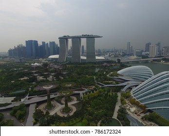 SINGAPORE,SINGAPORE - CIRCA March 2017 :wide aerial over marina bay and super tree