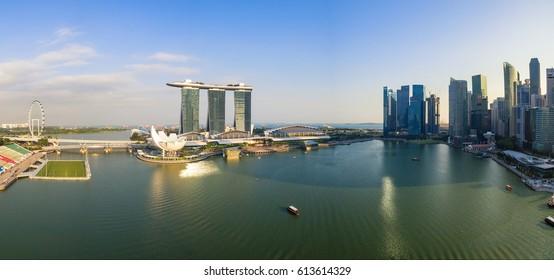 Singapore,Singapore - September 24, 2016 : Aerial view of Singapore city skyline at Marina Bay, Singapore