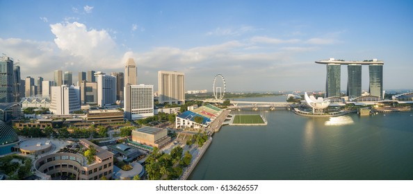 Singapore,Singapore - September 24, 2016 : Aerial view of Singapore city skyline at Marina Bay, Singapore