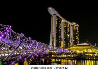 Singapore/Singapore-10 07 2018: Marina bay sands,  it is a landmark of Singapore.