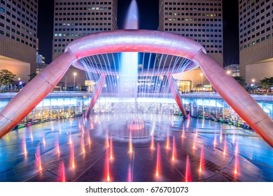Singaport, Singapore - June 29, 2017: Fountain show at Fountain of Wealth Suntec Tower Singapore. This is a famous tourism landmark of Singapore
