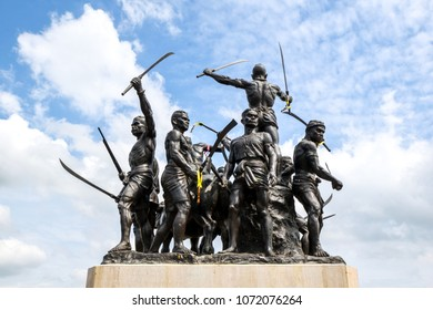 SINGBURI, THAILAND - APRIL 18, 2016 : Warrior statue of Bangrachan monument at Singburi Province Thailand.