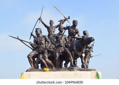 SINGBURI, THAILAND - JANUARY 2, 2016 : Warrior statue of Bangrachan monument at Singburi Province Thailand.
