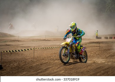 SINGBURI THAILAND - Nov 8 : The motorcross competition for charity and free fee to see. Nov 8, 2015 in Singburi province,Thailand