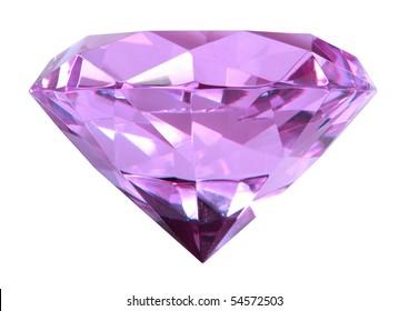 Singe purple crystal diamond. Close-up. Isolated on white background. Studio photography.