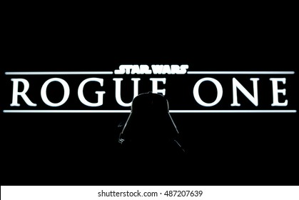 Singen, Germany September 21: Darth Vader watching the upcoming Star Wars episode title, the Rouge One. Coming on 15th December, 2016