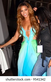 Singer and Actress Beyonce Knowles at a concert.