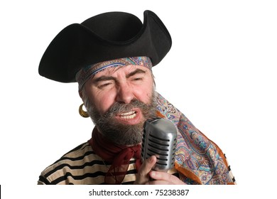Singer dressed as sea pirate sings in an old microphone. c55545fa3d1