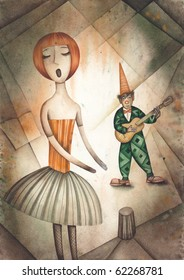 Singer and harlequin playing guitar