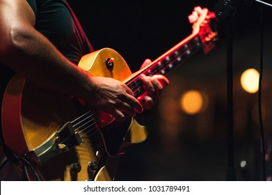 The singer and his guitar on concert