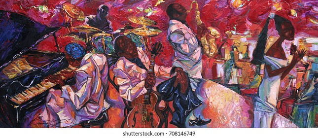 "singer, jazz club, saxophonist, jazz band, oil painting, artist Roman Nogin, series ""Sounds of Jazz."" sale original - contact facebook"