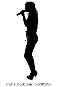 Singer women in pop style on white background
