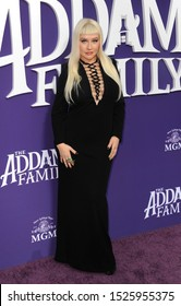 singer-songwriter Christina Aguilera at the Los Angeles premiere of 'The Addams Family' held at the AMC 15 in Century City, USA on October 6, 2019.