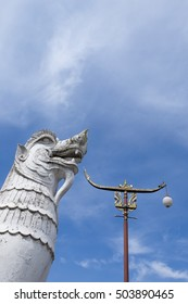 Singha Statue in front of Phumin Temple, Nan Province, Thailand