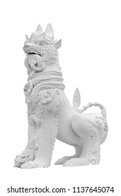 Singha (thai style lion) statue isolated on white background