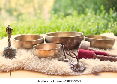 Singing bowl and other religious Tibetan musical instruments. Meditation and relax.The power of Healing sound.