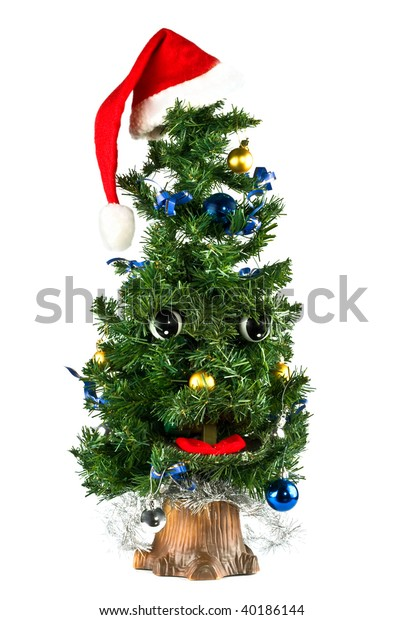 Singing Christmas Tree.Singing Christmas Tree On White Background Stock Photo Edit