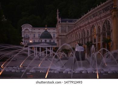Singing fountain in Marienbad Czech republic at night.