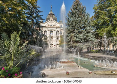 The Singing Fountain and State Opera Theater in Kosice Old Town on Hlavna or Main Square, Slovakia.
