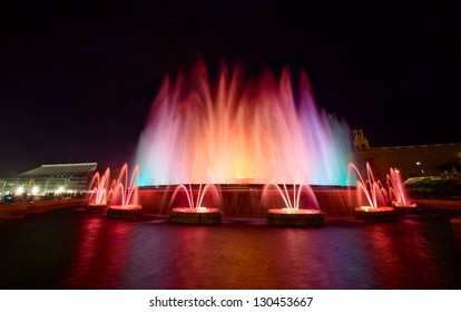 Singing Magic Fountain of Montjuic in the evening, Barcelona, Spain