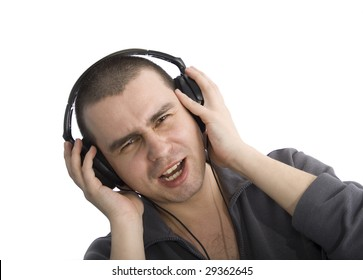 Singing man with headphones on head, looking into camera, focus on eyes, isolated