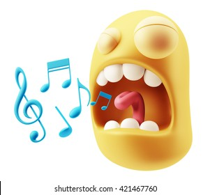 Singing Music Notes Emoticon Character Face Expression. 3d Rendering.