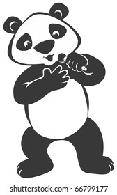 """Singing Panda Bear with Microphone This image also available as vector art. Please search under """"vector only""""."""