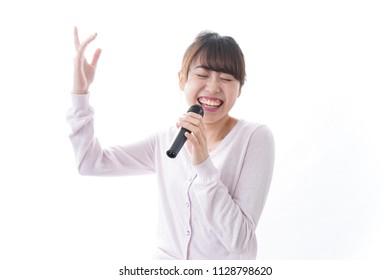 Singing woman image