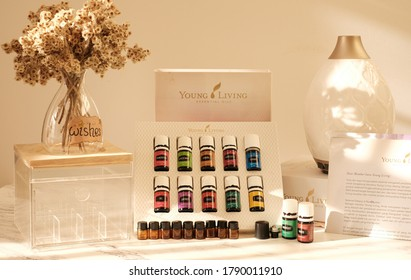 Singkawang, Indonesia - August 2 2020: Variety of Young Living Essential Oil. Selective focus.