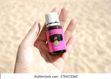Singkawang, Indonesia - August 8 2020: Variety of Young Living essential oil. Joy essential oil Selective focus.