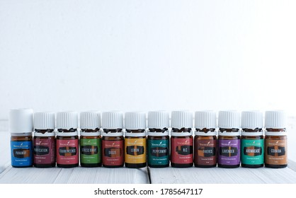 Singkawang, Indonesia - July 26 2020: Variety of Young Living Essential Oil. Selective focus.