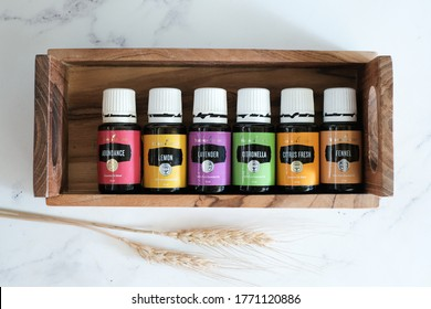 Singkawang, Indonesia - July 6 2020: Variety of Young Living Essential Oil. Selective focus.