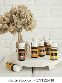 Singkawang, Indonesia - May 4 2020: Variety of Young Living Essential Oil. Selective focus.