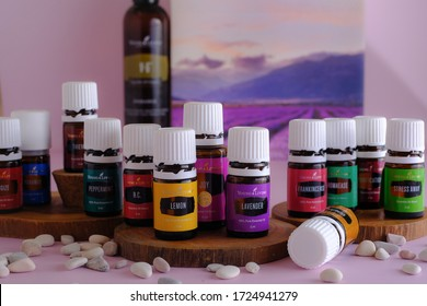 Singkawang, Indonesia - May 7 2020: Variety of Young Living Essential Oil. Selective focus.