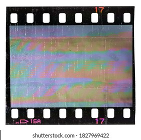single 35mm film strip with empty frame isolated on white with cool scanning light interferences, retro photo placeholder for your social media posting.