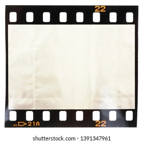 single 35mm filmstrip or snip with empty film cell or frame on white background, just blend in your content or photo, empty photo placeholder