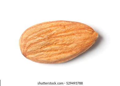 Single almond isolated on white background