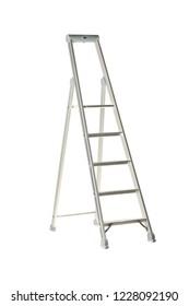 Single aluminum folding metal step ladder isolated on white background