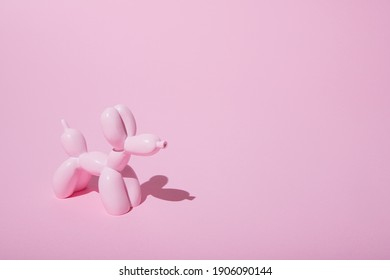 Single balloon dog on pastel pink background. Love card. Layout. Flat design.