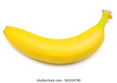 Single banana against white background. Isolated. Flat lay, top view