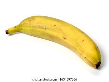 Single banana on white background