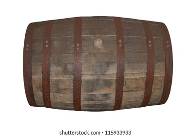 Single barrel of whiskey on a white background