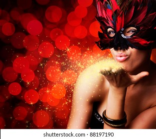 single beautiful woman in carnival mask