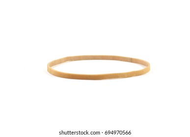 Single beige rubber band - isolated (white background)