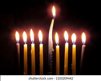 Single Bent Hanukkah Candle