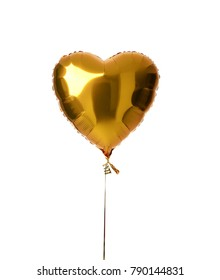 Single big gold heart metallic balloon for birthday party isolated on a white background