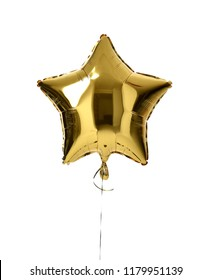 Single big gold star balloon object for birthday  party isolated on a white background