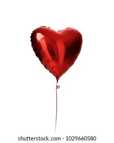 Single big  red heart balloon object for birthday party isolated on a white background