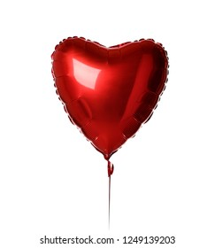 Single big  red heart balloon object for birthday party or valentines day isolated on a white background